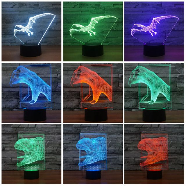 USB Lamp Touch Sensor Pterosaurs 3D Visual Led Sleep Light Lamp Dinosaur 3d Light for Children 7 Colors Gradient Home IY803489