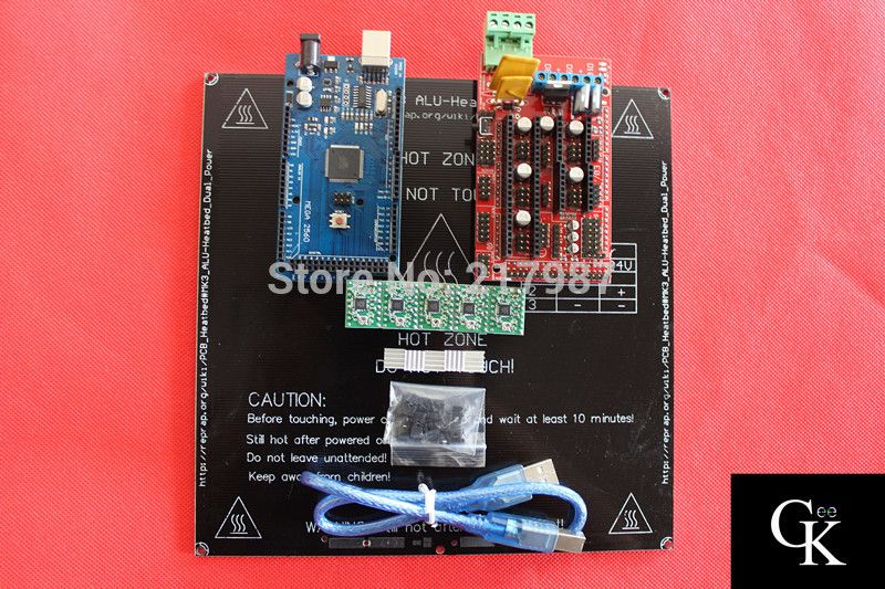 1pcs Mega 2560 R3 for arduino+1pcs RAMPS 1.4 Controller+5pcs A4988 Stepper Driver Module+1pcs MK3 Aluminum Heatbed 3mm