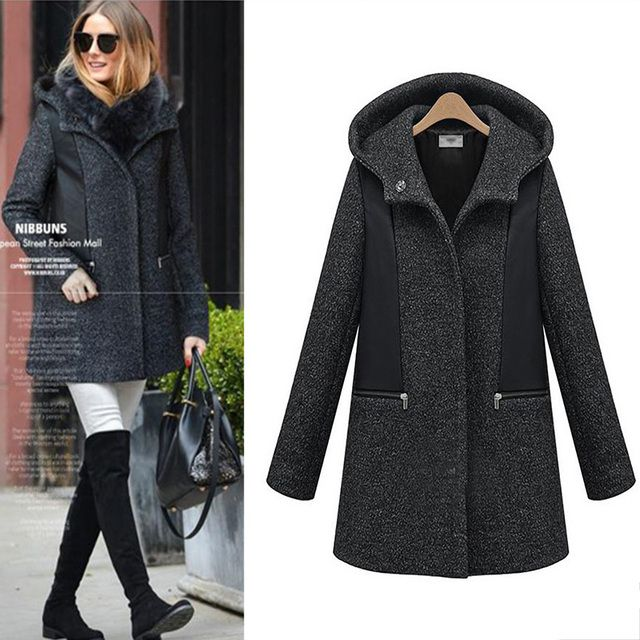 chic european style women long wool coat winter Hoodie jacket plus size