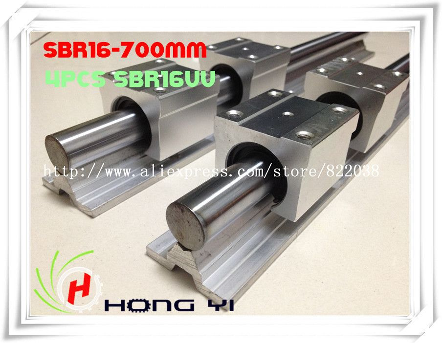 2 pcs SBR16  linear bearing supported rails L = 700mm  +4 pcs SBR16UU Linear Guides bearing blocks for SFU1605 Ballscrew