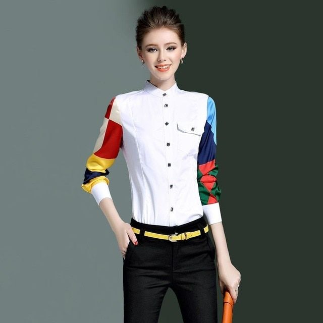 2017 Spring Women Blouses New Pattern Personality Color Long Sleeves Stand Lead Pure Cotton Fashion Leisure Time Shirt Woman