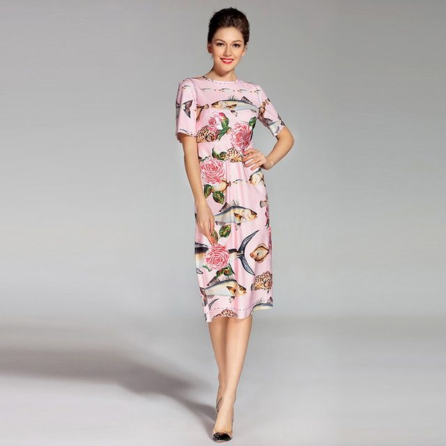 Newest 2017 Luxurious High Quality Spring&Summer Pink Printing Rose And Fishes Diamond Button Knee-Length Casual Dress women