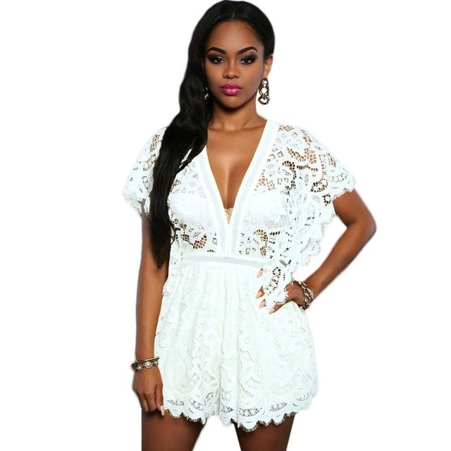 Women White Sheer Lace Jumpsuit 2017 Short Lace Insert Playsuit Fashion Short Batwing Sleeve V-neck Short Summer Overalls Ladies