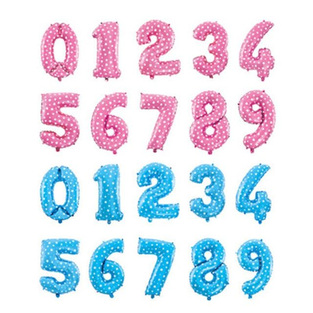 16 inches pink blue number foil balloons birthday party digit ballons wedding decoration baloons christmas holiday supplies