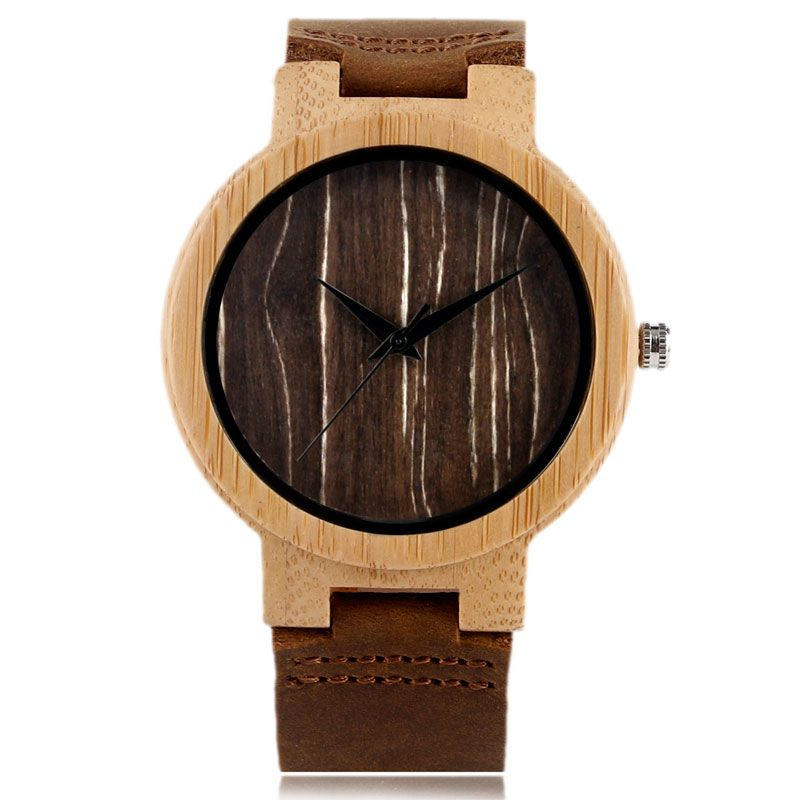Creative Nature Wood Wooden Wrist Watch Men Women Genuine Leather Band Quartz Sport Strap Business Bamboo Pattern Modern Gift