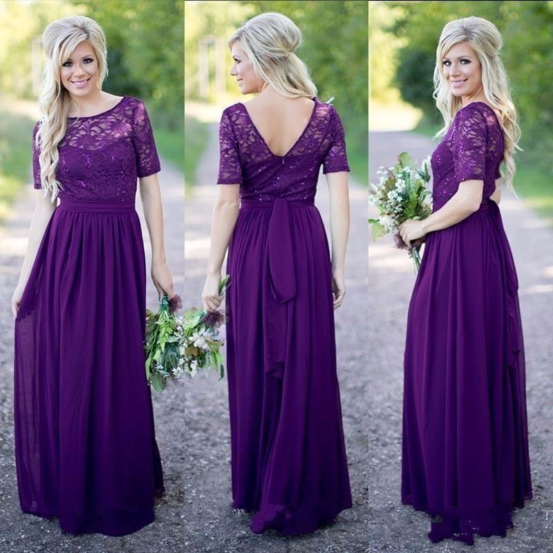 Long Formal Purple Lace Chiffon Modest Bridesmaid Dresses 2019 With Short Sleeves Sparkling Rustic Brides Maid Dresses Wedding