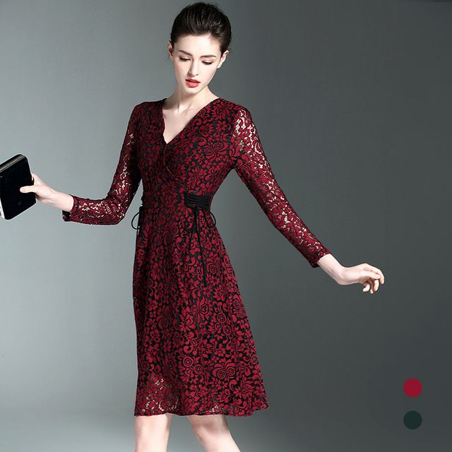 BURDULLY Brand 2017 Sexy v-collar lace Dress red wine Elegant ladies hook flowers hollow Stitching Summer Women Dress