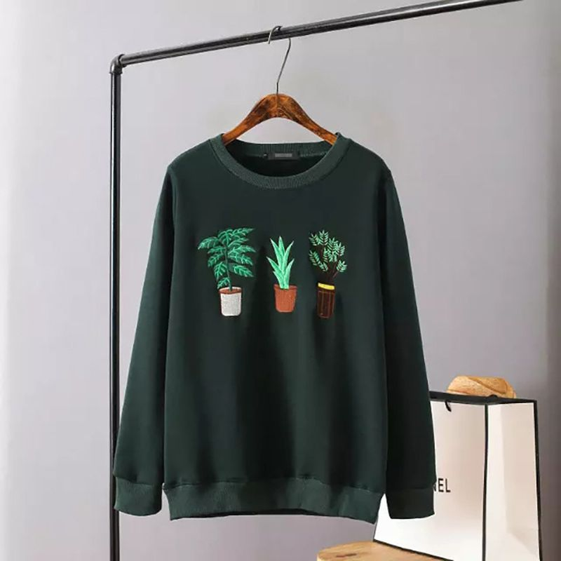women spring autumn Institute wind simple potted plant embroidery loose section hedging long-sleeved sweatshirt for girls