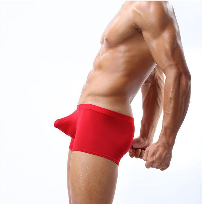 Sexy Underwear Men Ice Silk Panties Boxer Shorts Man Big Penis Pouch Male Underpants Mens Boxershorts Cockcon Brand Gay Boxers