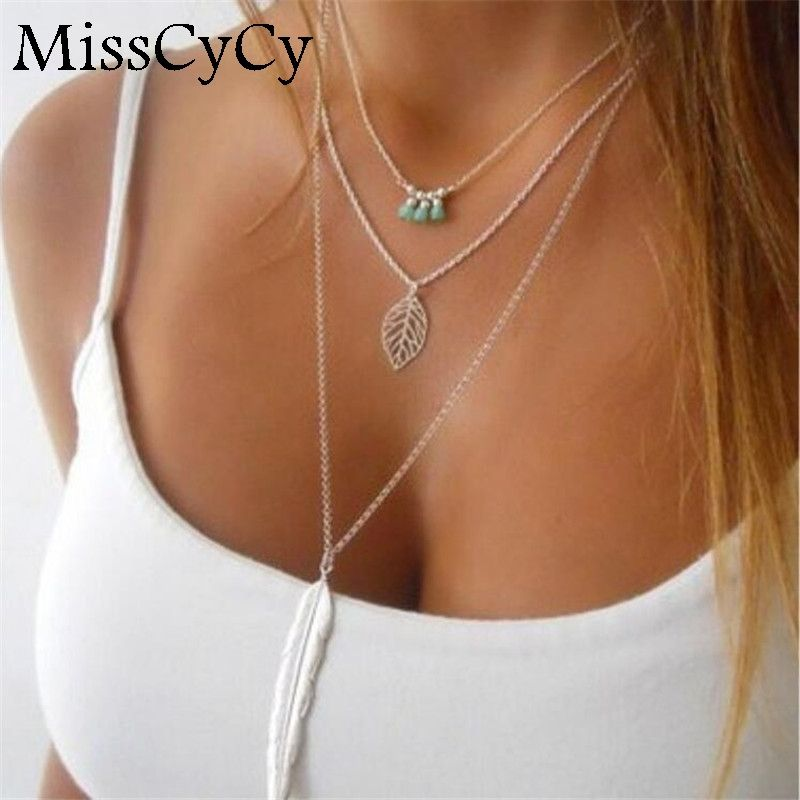 MissCyCy Fashion Simple  Necklaces Leaf Long Pendant Necklaces 3 Layer Chain Necklace multilayer Necklaces