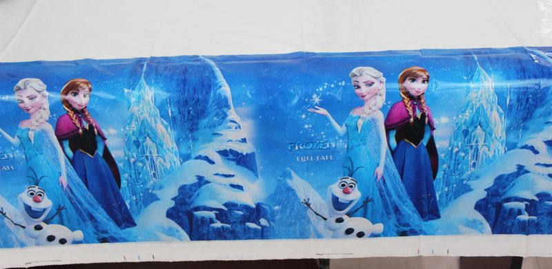 Elsa Anna Kid Girl Baby Happy Birthday Party Decorations Kids Supplies Favors Frozen Plastic Table Cloth Size 220cm X 132cm