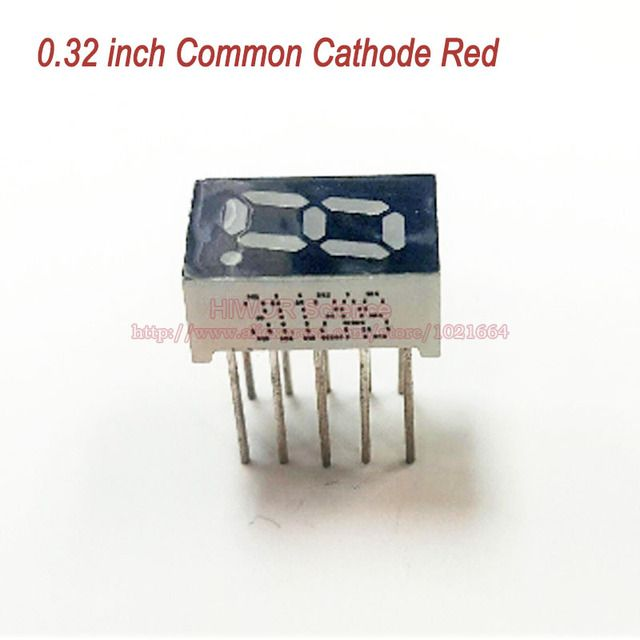(10pcs/lot) 10 Pins 3211AR 0.32 Inch 1 Bit Digit 7 Segment Red LED Display Share Common Cathode Digital Display