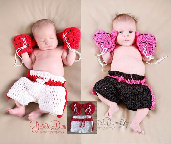 free shipping,Crochet Baby Boxing Gloves & Shorts Pant Set Costume Photo Photography Newborn Fotografia Infant Boy Girl Costume