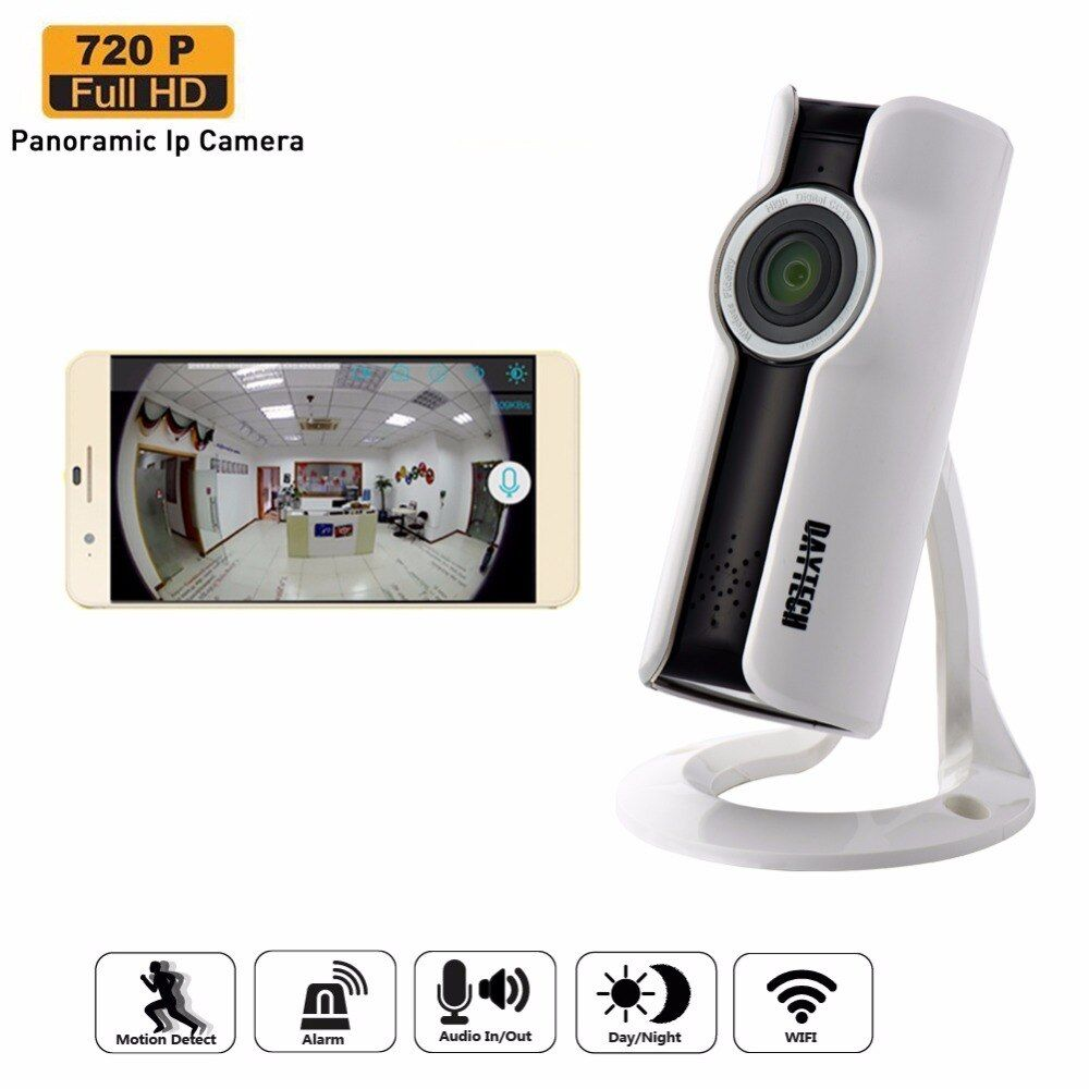Daytech WiFi IP Camera Home Security Camera Mini Monitor Panoramic Camera Two Way Intercom Night Vision Fish Eye Lens DT-C180