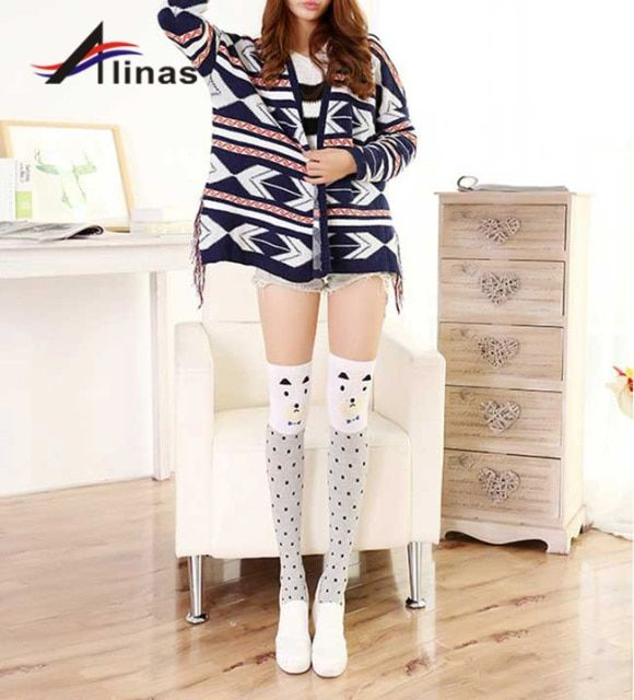 Spring Summer Sexy Stockings Plus Size Female Cartoon Cute Over-the-Knee Heap Sox Student Movement Tube of Pure Cotton