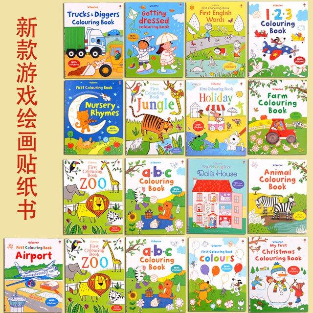 SMART LUXURY FREE SHIPPING Usborne Sticker Book Children English sticker sticker book full version of early Enlightenment Book 1