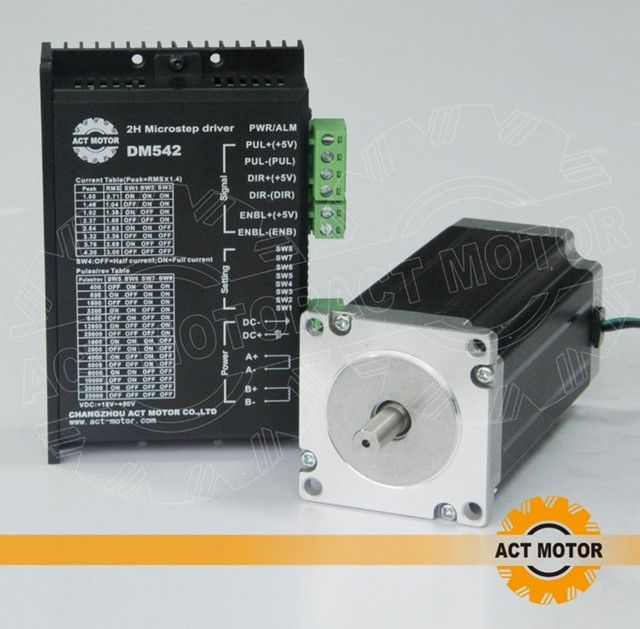 ACT Motor 1PC Nema 23 Stepper Motor Single Shaft 23HS2430 3A 425oz-in 112mm+1PC Driver 4.2A 50V 128Microsteps  US DE UK CA Free