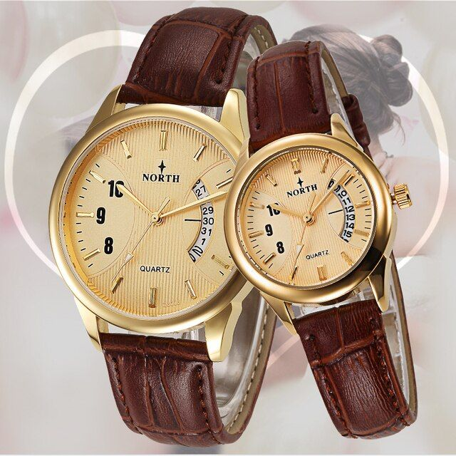Montre Femme 2017 Quartz-Watch Ladies Lovers Watches Women Men Dress Watches Leather Wristwatch Gold Fashion Couple Watches