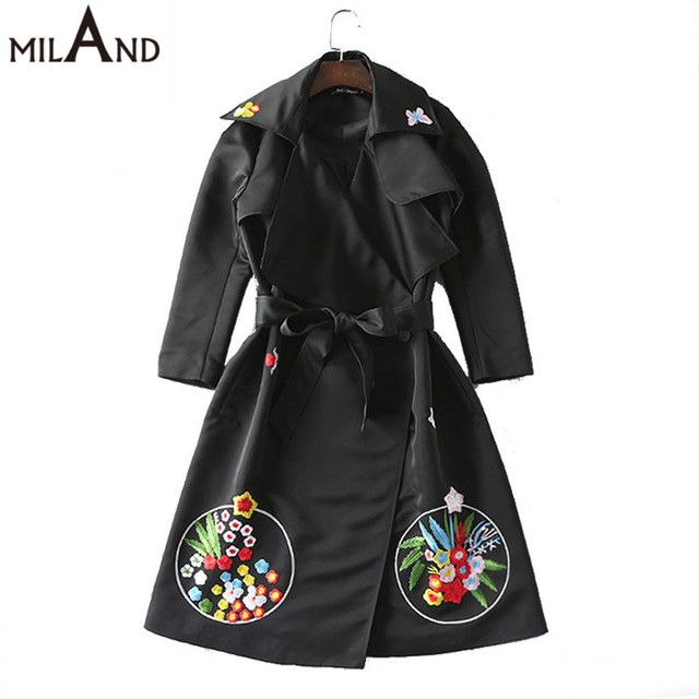 turn down collar long sleeves flowers embroidery black jackets 2016 autumn high quality runway coats fo elegant woman 914