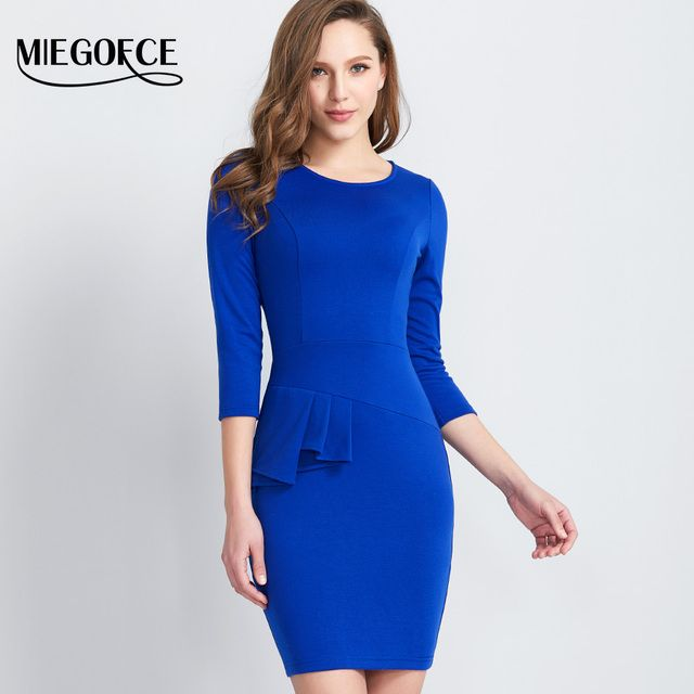 Women Elegant Dress Slim Round Neck High Quality 3/4 Sleeves Office Dresses Evening Casual Pencil dress MIEGOFCE New Collection