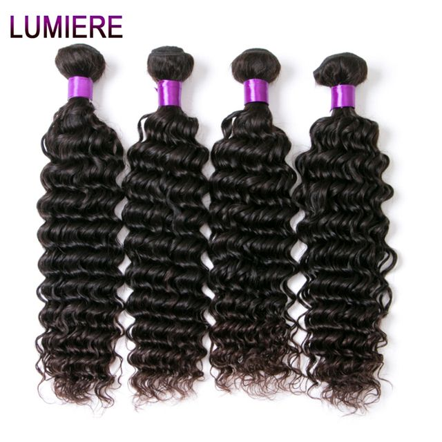 Peruvian Deep Wave Human Hair Bundles Lumiere Non Remy Natural Color Human Hair Extension 4 Bundles Lot Free Shipping