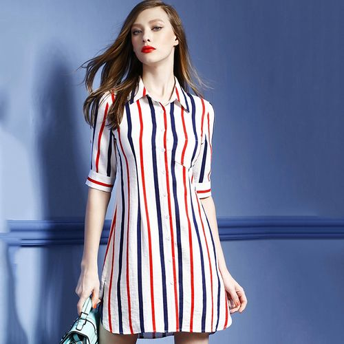 Summer Dress 2016 Brief Elegant Dress Striped Half Sleeve A Line Shirt Dress Formal Dresses for Office vetement femme 1273