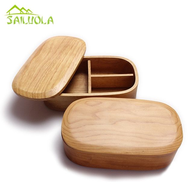 New Lunchbox Lancheira Japan Style Solid Wooden Rice Container For Children L18cm-w10cm-h5cm