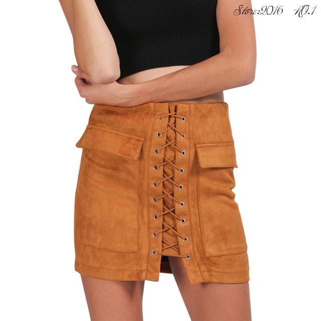 Lady High Waist Casual Skirts  Women Skirt Vintage Pocket Short Skirt  Apparel Autumn Lace Up Suede Leather Winter