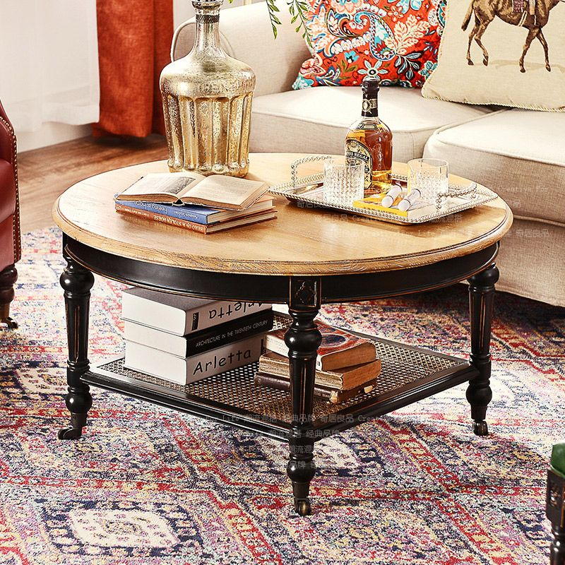 US French countryside elm wood furniture Bock race round the living room coffee table legs with roller paragraph F