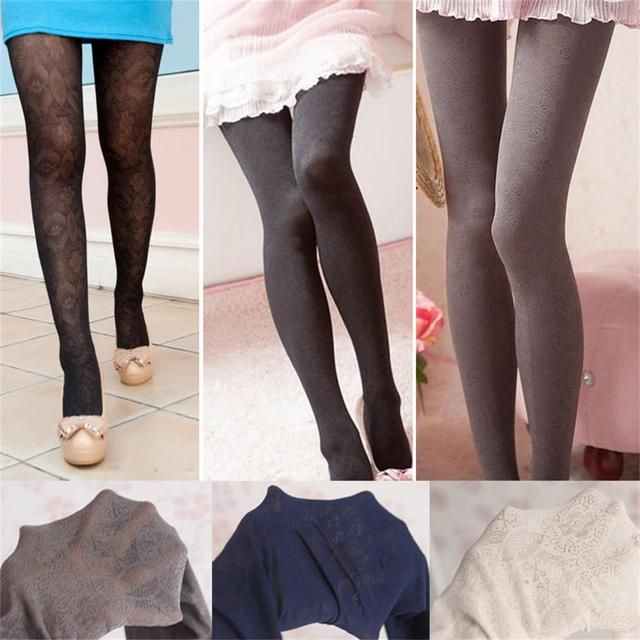 2017 Women Sexy Winter Knitting Polyester Tights Fashion Long Stocking Retro Hollow Out Step Foot Seamless Pantyhose