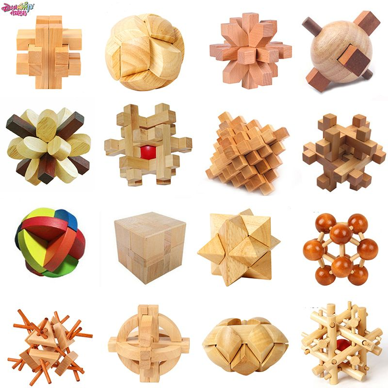 DANNIQITE Classic IQ 3D Wooden Interlocking Burr Puzzles Mind Brain Teaser unlocking Game Toy for Adults Children