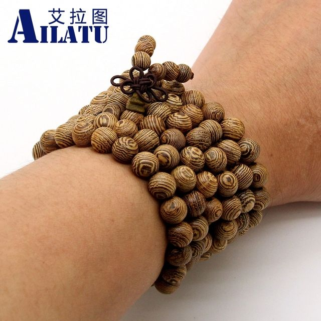 Ailatu Jewelry Wholesale 10pcs/lot 8x108 Classic Tibetan Rosary For Men and Women Hot Wenge Wood Prayer Mala Beads Bracelets