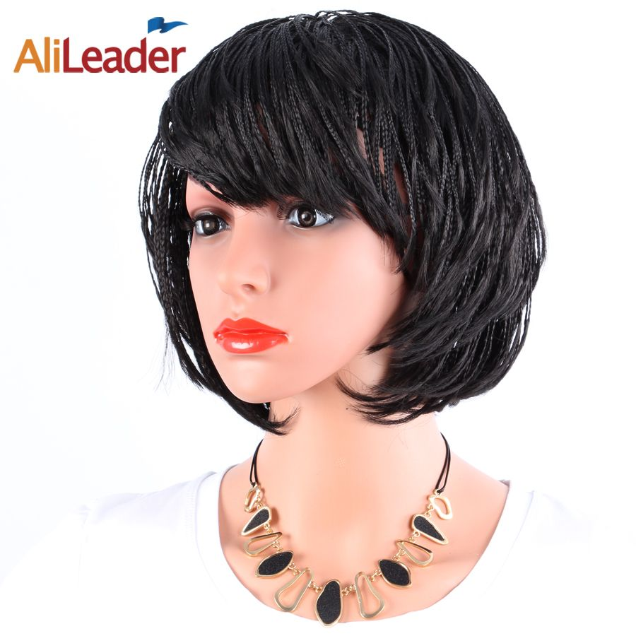 AliLeader Short Black Wig Small Box Braid Afro American Wigs With Bang, Full Machine Made Kanekalon Bob Micro Braided Wigs