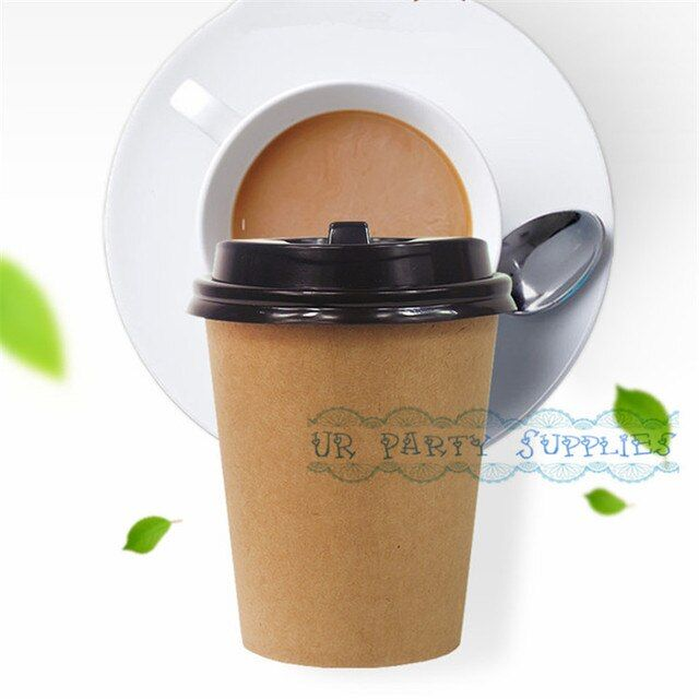 Free Ship 50pcs Brown Kraft Paper Cups 280ml Party Disposable Drinking Cups with Lid Eco Friendly Biodegradable Party Supply