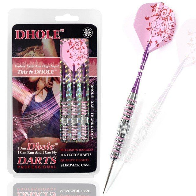 CUESOUL DHOLE Series 23 Grams Steel Tip Darts With Pink Aluminum Shaft & Flight & Case for Girl