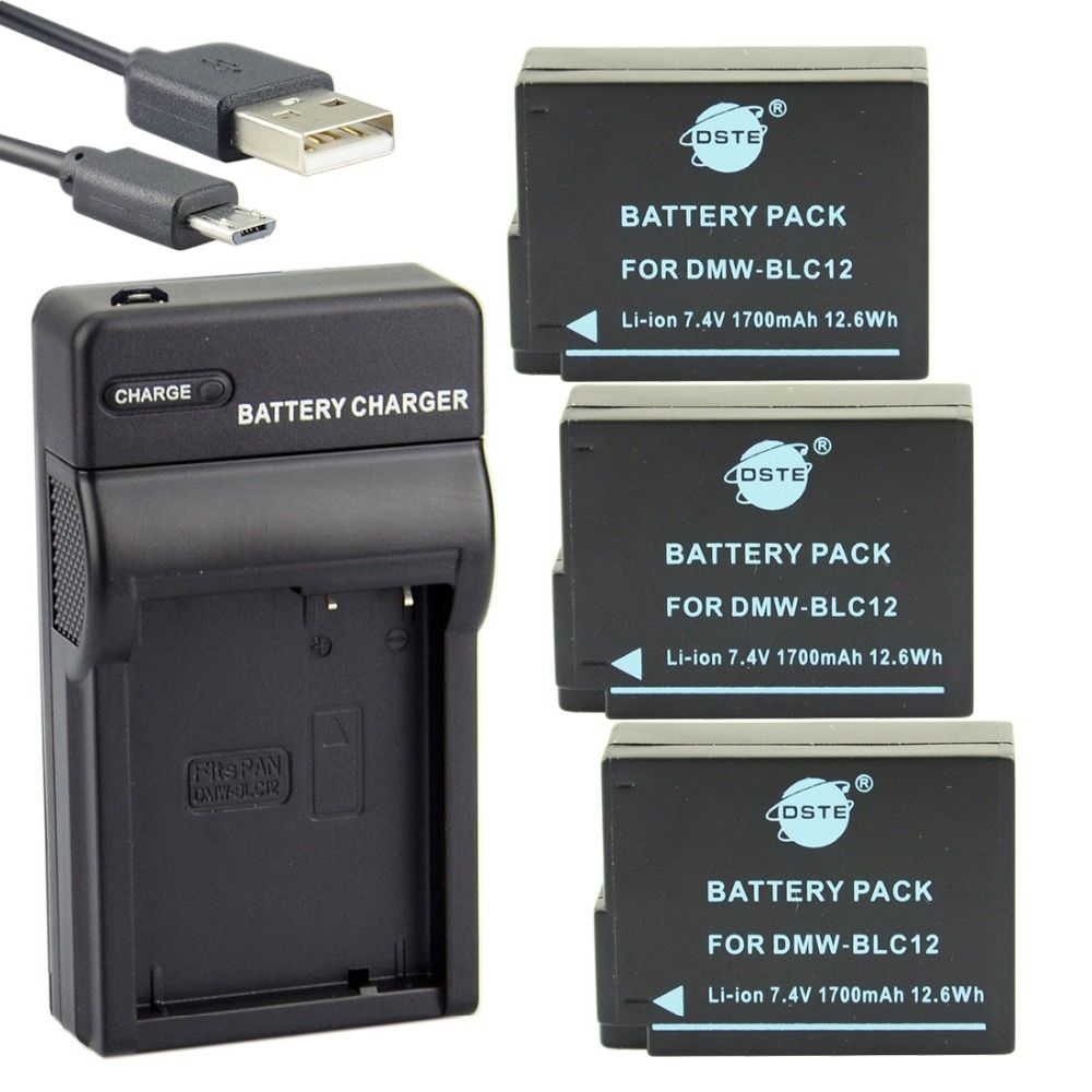DSTE 3PCS DMW-BLC12 Battery with USB Port Charger for Panasonic DMC-GH2 DMC-GH2GK DMC-G7 FZ2000 FZ2500 DC-G90 DC-G95
