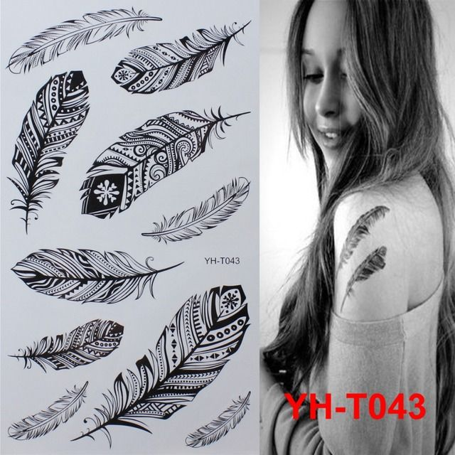 Black feathers Painted body art sticker Bracelet tattoo black tattoo flash tattoos large fake India spends temporary tattoo