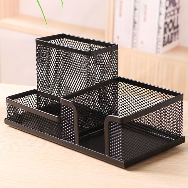 1 Pc Square Pen Stand Holder Metal Mesh Dest Stationery Holder Big Capacity Black Color Deli 9175