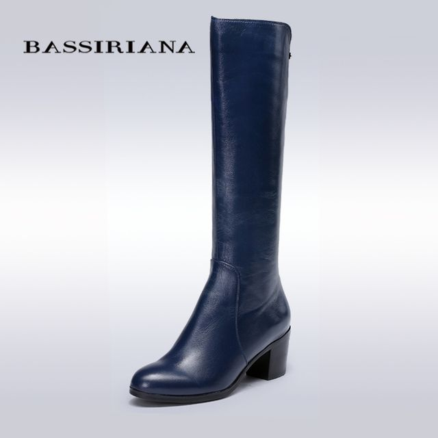 BASSIRIANA - women's winter boots Genuile Full grain leather in blue color, 35-40sizes, Autumn season, free shipping