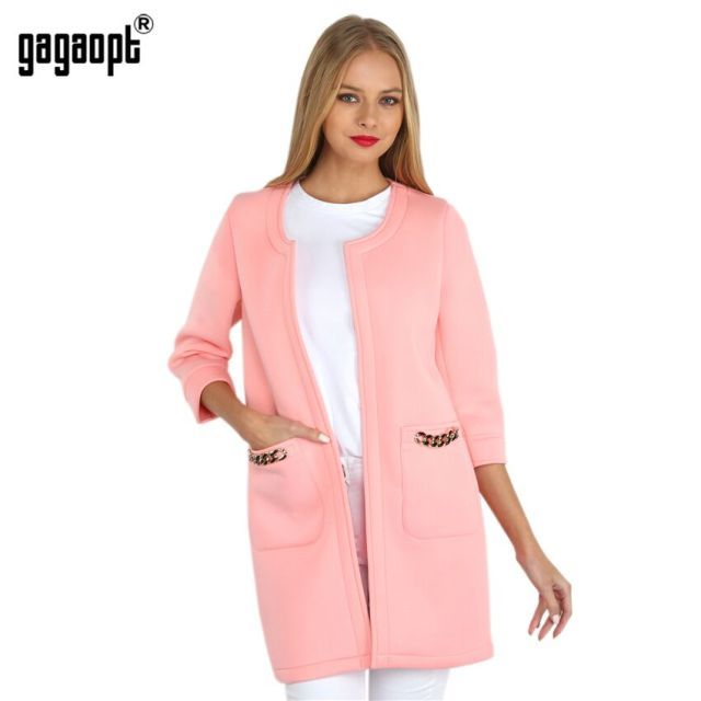 2015 Gagaopt Made New Arrive Trench Coat For Women Solid Candy Color Vacuum Cotton Winter Coat With Three Quarter Casacos