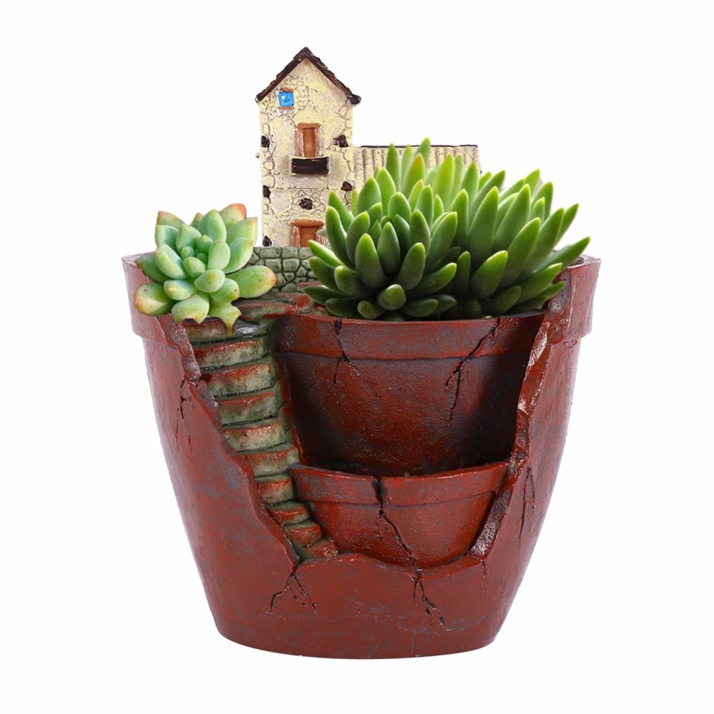 W Resin Flower Pot for Succulent Plants Flowerpot Micro-landscape Pot Garden Decoration Saksi Planter Garden Pot Decoration