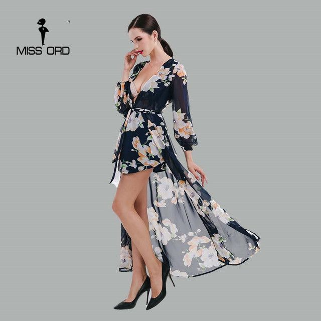Missord 2019 Sexy Deep-V Long sleeve printing with cloak playsuit FT4699