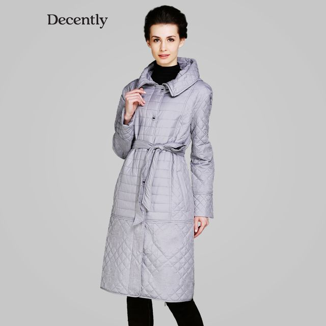 DECENTLY 2015 Spring sintepon coat Women New jacket Woman Lengthen Slim Fashion Hooded RUS Free Shipping DC-5C1803
