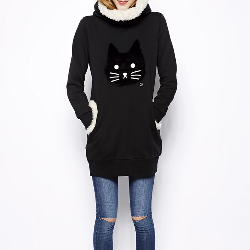 Cute Japanese Mori Kawaii Girl Lolita Cat Embroidered Hoodies SweatShirts Hooded Hoodies Woman Clothing Winter Outerwear Vestido