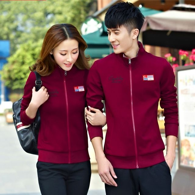 Spring and Autumn new jogging Sports suits cardigan long - sleeved pants male Sportswear couples dress