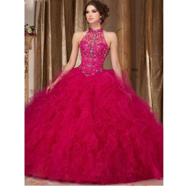 Vestidos De Debutante Gowns Custom Made Blue/Green/Fuchsia Crystals Beading High Neck Ball Gown Sweet 15 Anos Quinceanera Dress