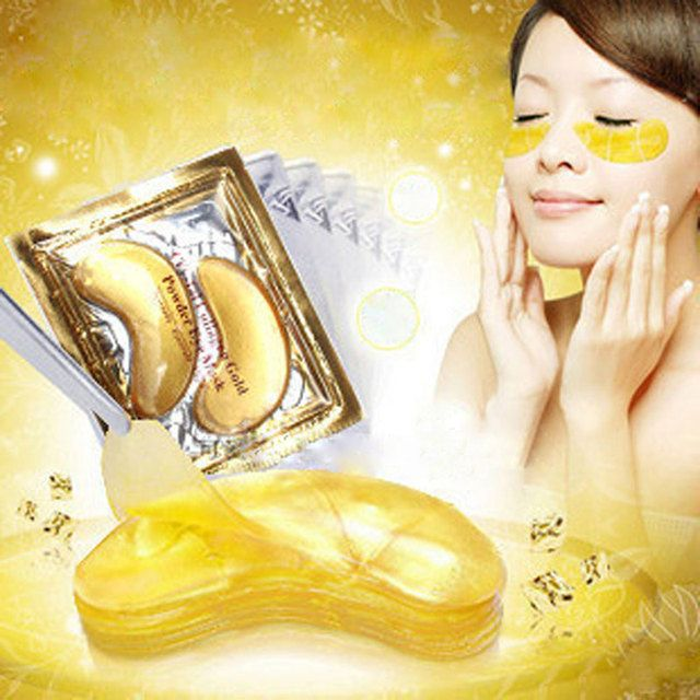 5packs Gold Eye Mask Golden Crystal Collagen Eye Mask Anti-Dark Circle Moisturizing Mask Anti-Aging Hyaluronic Acid Eye Patches