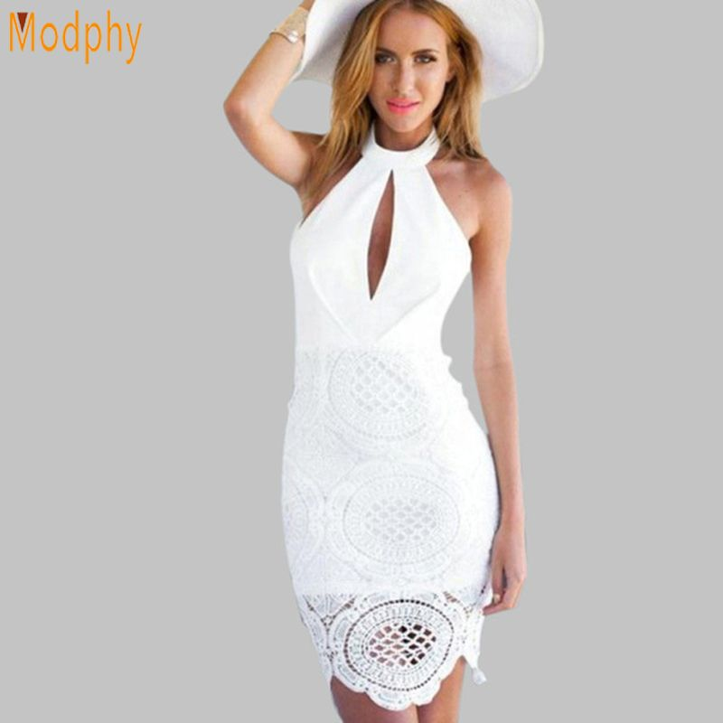 Women sexy lace hollow out celebrity bandage dress white black backless open back halter party mini dress drop ship HL457