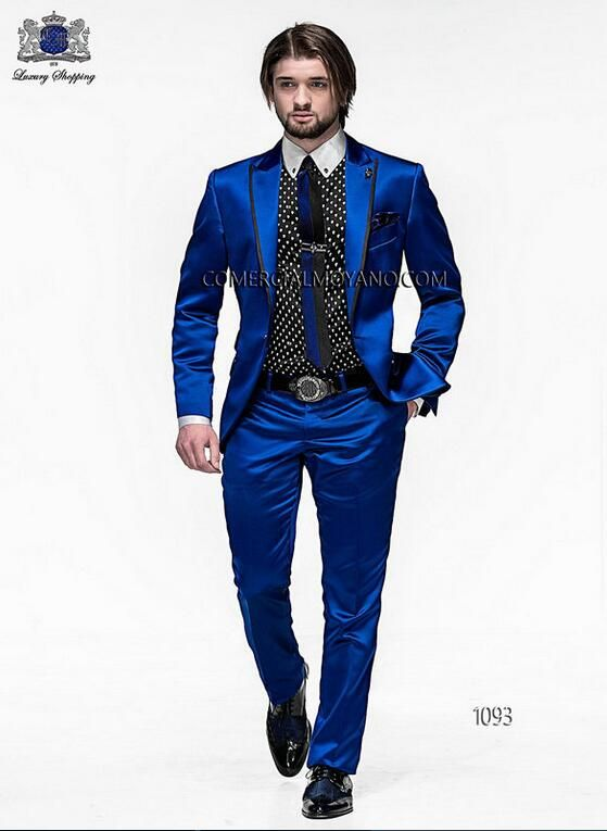 2017 Men Slim Fit Suits Groom Tuxedos Royal Blue Best Men Suit Prom Tuxedos For Men Wedding Suits With Pants Groomsman