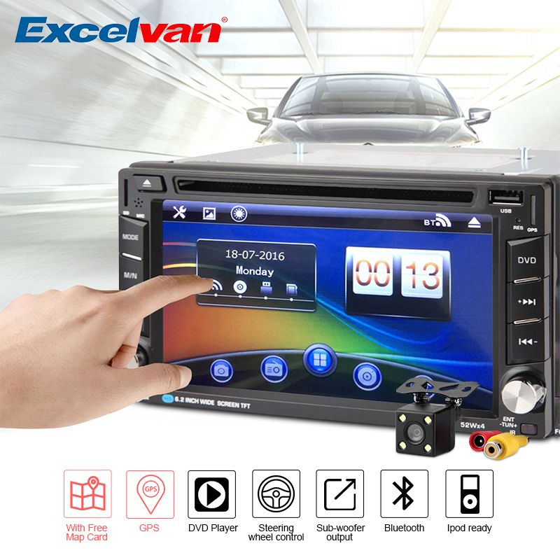 "Universal 6.2"" 2Din Wince6.0 GPS Navigation Steering Wheel Control Sub-woofer Car Radio DVD Player Touch Screen+Rearview Camera"